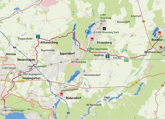 """Kartenausschnitt """"Europäischer Fernwanderweg E11"""""""