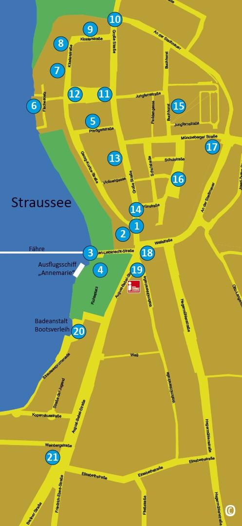 """Ausschnitt aus dem Flyer """"Stadtrundgang"""", Kartenansicht"""