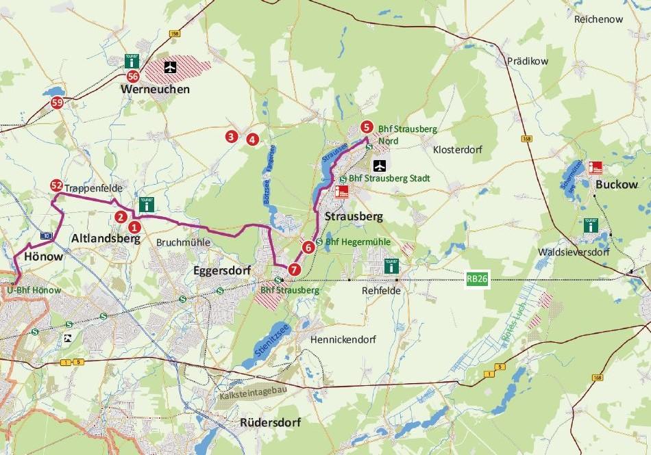 """Karte """"Historische Stadtkerne-Route"""""""
