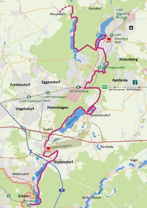 """Kartenausschnitt """"66-Seen-Wanderweg"""""""