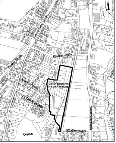 Räumlicher Geltungsbereich der 3. Änderung des Flächennutzungsplans für den Bereich Fließstraße